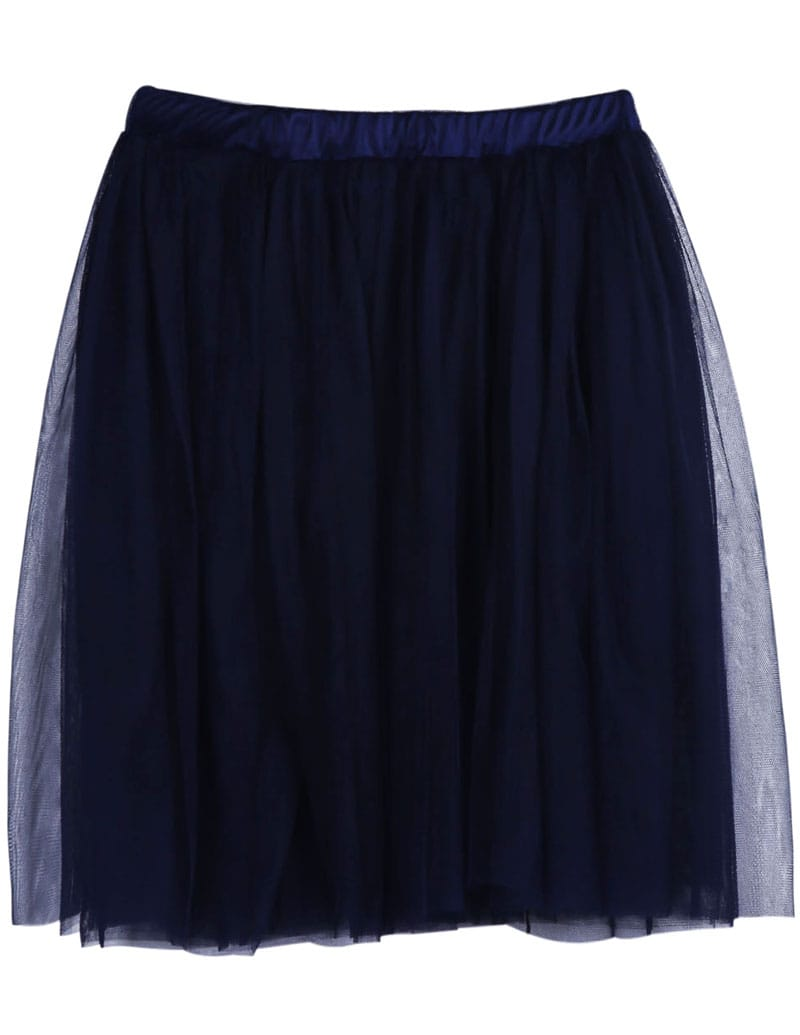 navy elastic waist pleated mesh yoke skirt shein sheinside