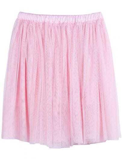 Pink Elastic Waist Pleated Mesh Yoke Skirt