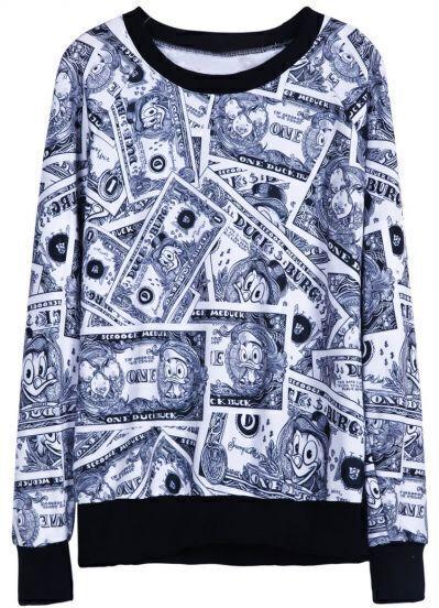 Black Long Sleeve Banknote Print Sweatshirt