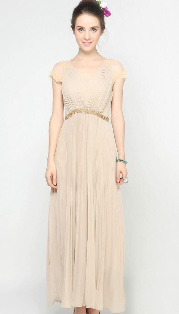 Pleated Long Chiffon Dress