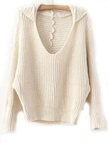 Khaki V Neck Batwing Long Sleeve Loose Sweater