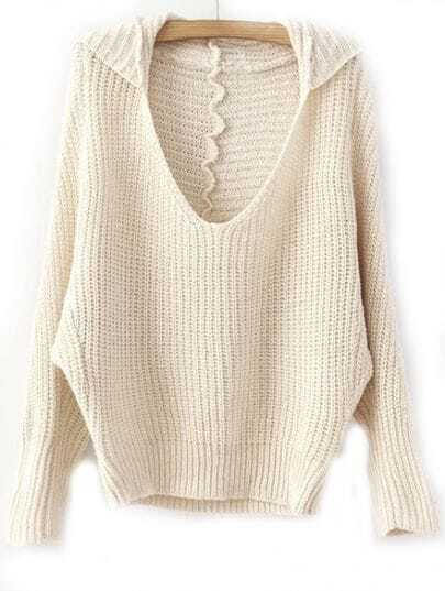 Khaki V Neck Batwing Long Sleeve Loose Sweater
