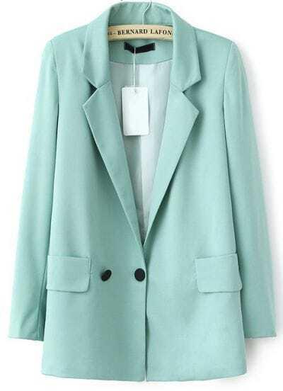 Green Notch Lapel Long Sleeve Pockets Blazer