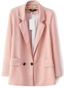 Pink Notch Lapel Long Sleeve Pockets Blazer