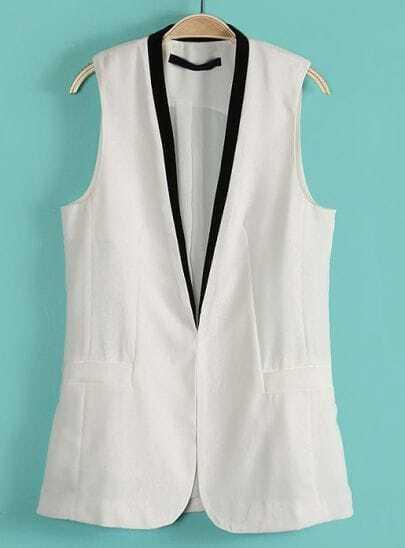White Contrast Collar Sleeveless Pockets Blazer