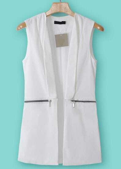 White Lapel Sleeveless Zipper Embellished Blazer