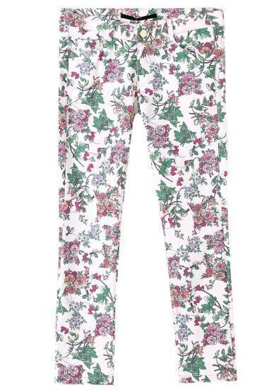 White Casual Pockets Floral Crop Pant