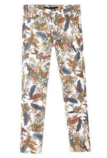 White Elastic Leaves Print Pockets Pant