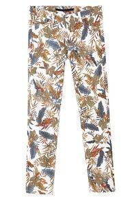 White Elastic Leaves Print Pockets Pant