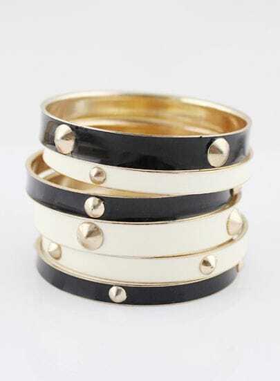 Black White Multilayers Gold Rivet Bracelet