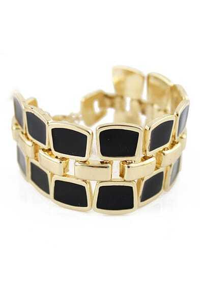 Black Geometric Splice Bracelet