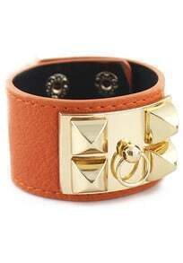 Gold Rivet Orange Leather Bracelet
