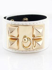 Gold Rivet White Leather Bracelet