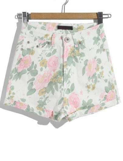 White High Waist Floral Flange Shorts