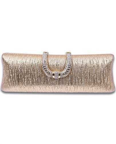 Gold Diamond Magnetic PU Clutch Bag