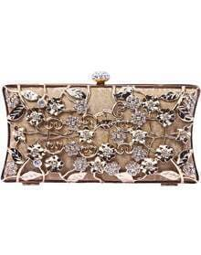 Gold Metallic Magnetic Diamond Flowers Clutch Bag
