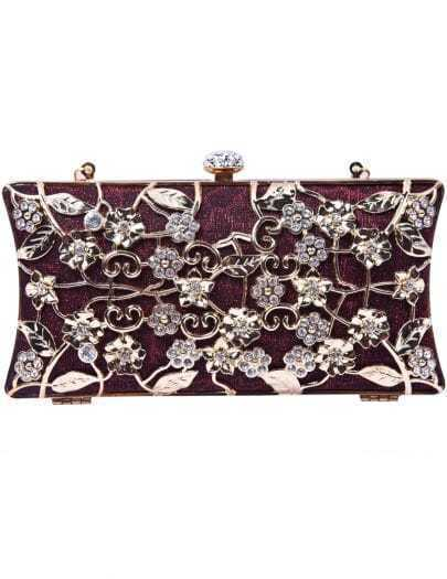 Red Metallic Magnetic Diamond Flowers Clutch Bag