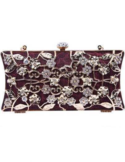 Red Metallic Magnetic Diamond Flowers Clutch Bag