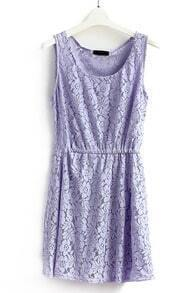 Purple Sleeveless Embroidery Pleated Lace Sundress