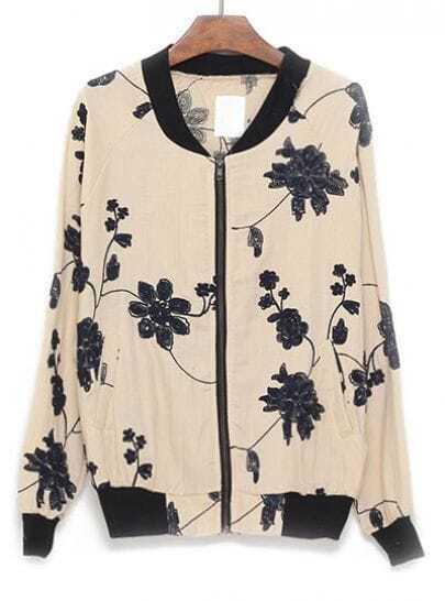 Apricot Long Sleeve Zipper Embroidery Loose Jacket
