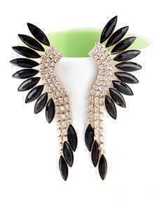 Black Gemstone Gold Crystal Elegant Earrings