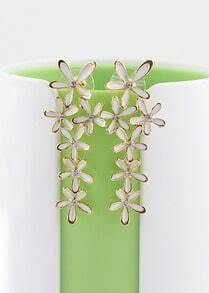 White Crystal Flowers Earrings