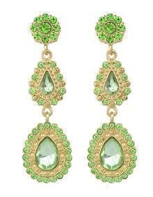 Green Drop Gemstone Gold Flower Earrings