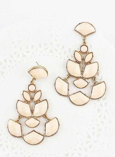 White Gemstone Gold Geometric Earrings