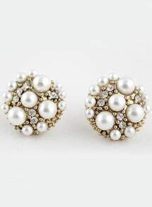 Gold Bead Crystal Stud Earrings