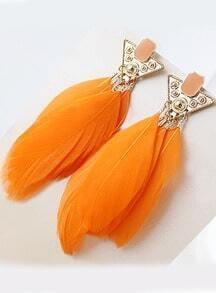 Yellow Feather Tassel Earrings