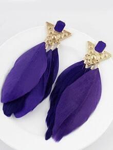 Purple Feather Tassel Earrings