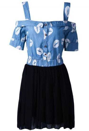 Black Contrast Denim Spaghetti Strap Lips Print Chiffon Dress
