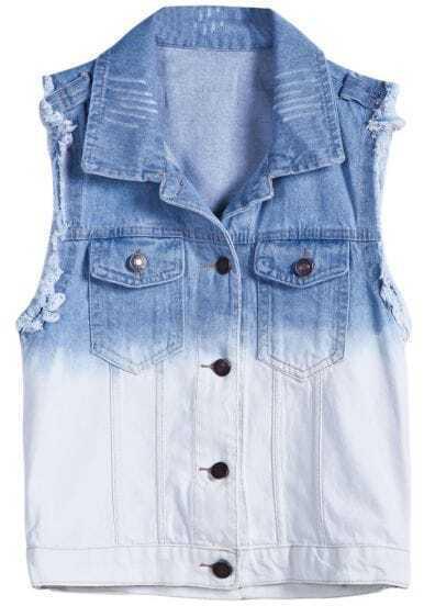 Blue White Sleeveless Ripped Fringe Denim Outerwear