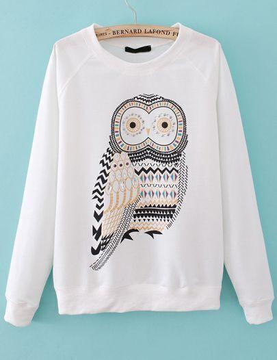White Long Sleeve Owl Print Rhinestone Sweatshirt