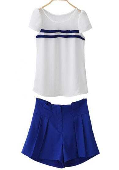 White Contrast Mesh Yoke Short Sleeve Top With Blue Shorts