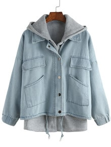 Blue Hooded Long Sleeve Drawstring Denim Outerwear