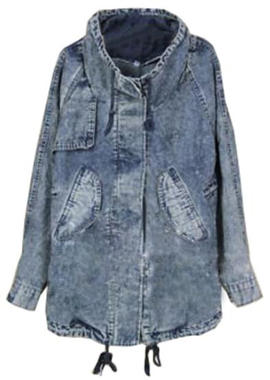 Blue Lapel Long Sleeve Drawstring Denim Trench Coat
