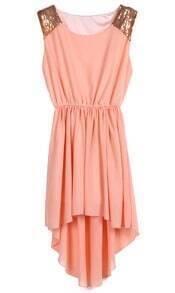 Peach Sequined Shoulder Sleeveless Dipped Hem Dress