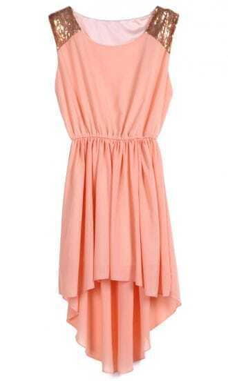 Peach Sequined Shoulder Sleeveless Dipped Hem Dress