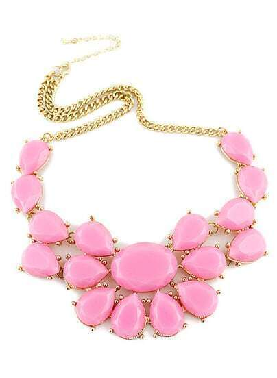 Pink Drop Gemstone Gold Chain Necklace