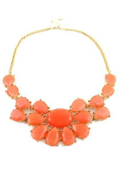 Orange Drop Gemstone Gold Chain Necklace