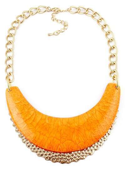 Orange Collar Gold Chain Necklace
