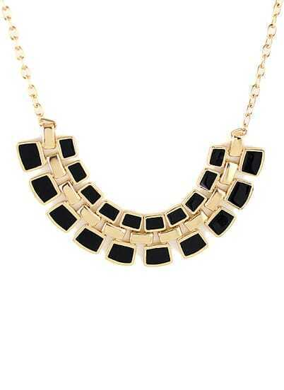 Black Geometric Splice Gold Chain Necklace