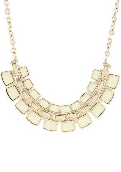 White Geometric Splice Gold Chain Necklace