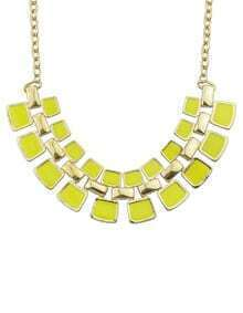 Yellow Geometric Splice Gold Chain Necklace
