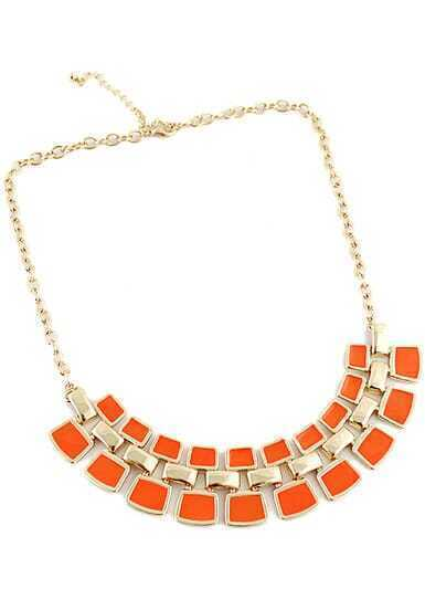 Orange Geometric Splice Gold Chain Necklace