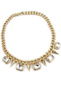 Gold Crystal Rivet Chain Necklace