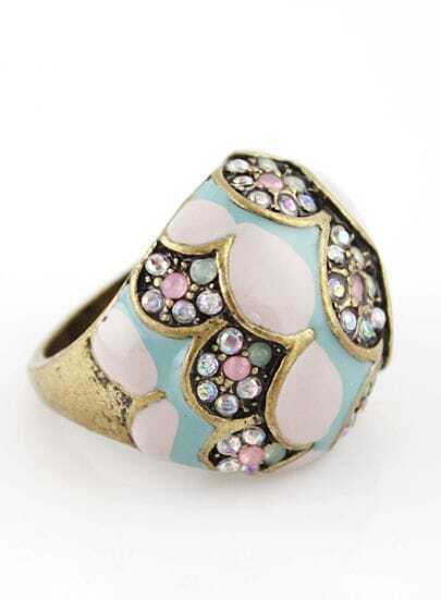 Retro Gold Crystal Flower Ring