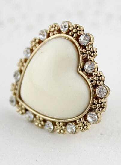 White Heart Gold Crystal Flower Ring