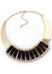 Black Gemstone Gold Crystal Collar Necklace
